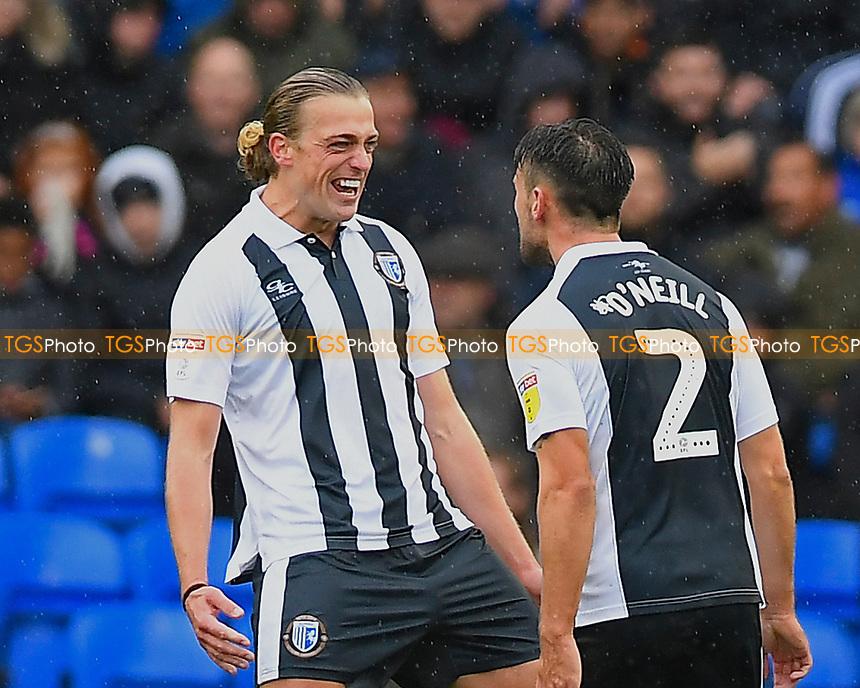 Tom Eaves of Gillingham left celebrates his goal with Luke O'Neill of Gillingham during Portsmouth vs Gillingham, Sky Bet EFL League 1 Football at Fratton Park on 6th October 2018