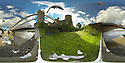 A 360 degree view showing seagulls feeding as a tour-bus goes over the modern bridge in the shadow of Conwy Castle, next to Conwy Suspension Bridge - one of the first road suspension bridges in the world. Located in the medieval town of Conwy in Conwy county borough, North Wales<br />