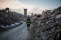 Amatrice, Italy, February 13, 2017. Destroyed houses at Amatrice. Six months after the earthquake, nothing has changed. The rubble is still there; nothing has been moved, recorded or stored. People are still living in provisional accommodation but the greatest loss, to many residents, is the loss of their former peaceful lives.