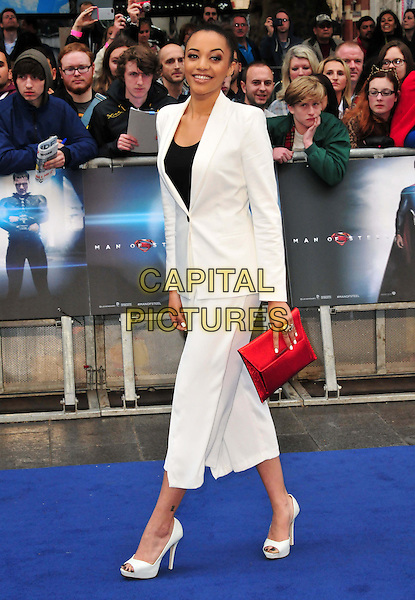 Amal Fashanu<br /> 'Man Of Steel' UK film premiere, Empire cinema, Leicester Square, London, England.<br /> 12th June 2013<br /> full length black top white suit cropped trousers blazer red clutch bag<br /> CAP/BF<br /> &copy;Bob Fidgeon/Capital Pictures