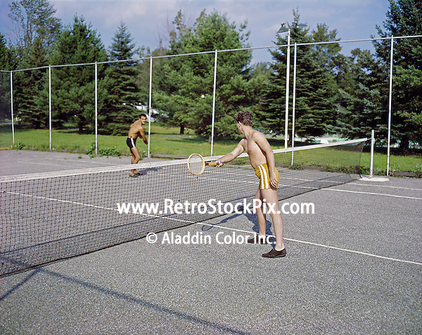 Alpine Hotel, Ellenville, NY. Tennis with wooden racquets. 1959.