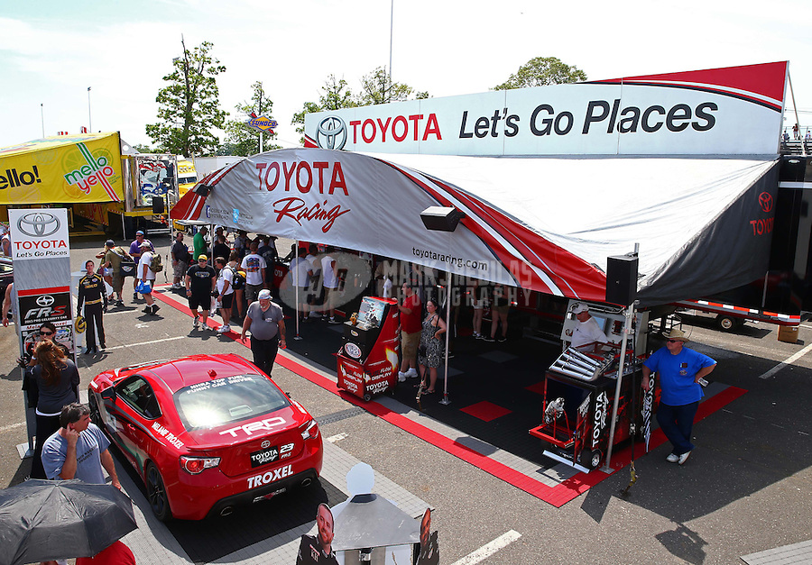 May 31, 2013; Englishtown, NJ, USA: NHRA Toyota display on the midway during qualifying for the Summer Nationals at Raceway Park. Mandatory Credit: Mark J. Rebilas-