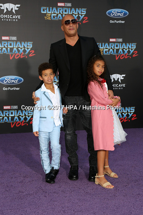 "LOS ANGELES - APR 19:  Vincent Sinclair, Vin Diesel, Hania Riley Sinclair at the ""Guardians of the Galaxy Vol. 2"" Los Angeles Premiere at the Dolby Theater on April 19, 2017 in Los Angeles, CA"