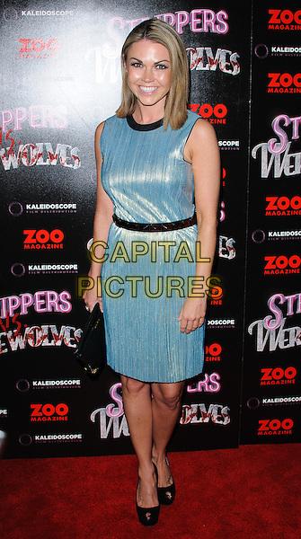 Adele Silva.The 'Strippers Vs Werewolves' UK film premiere, Apollo Piccadilly Circus cinema, London, England..April 24th, 2012.full length blue dress black belt sleeveless.CAP/CJ.©Chris Joseph/Capital Pictures.
