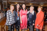 Geraldine Stack (Tralee), Maura Murphy (Tralee), Maureen Duggan (Farmers Bridge), Claire Kelliher (Tralee) and Margaret Sears (Clahane, Ballard) attending the San Rita Wellness and Fashion show in the Rose Hotel on Friday night