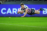 Cardiff Blues&rsquo; Garyn Smith scores his side's third try<br /> <br /> Photographer Kevin Barnes/CameraSport<br /> <br /> Guinness Pro14 Round 13 - Ospreys v Cardiff Blues - Saturday 6th January 2018 - Liberty Stadium - Swansea<br /> <br /> World Copyright &copy; 2018 CameraSport. All rights reserved. 43 Linden Ave. Countesthorpe. Leicester. England. LE8 5PG - Tel: +44 (0) 116 277 4147 - admin@camerasport.com - www.camerasport.com