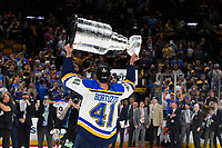 June 12, 2019: St. Louis Blues defenseman Robert Bortuzzo (41) hoists the Stanley Cup at game 7 of the NHL Stanley Cup Finals between the St Louis Blues and the Boston Bruins held at TD Garden, in Boston, Mass.  The Saint Louis Blues defeat the Boston Bruins 4-1 in game 7 to win the 2019 Stanley Cup Championship.  Eric Canha/CSM.