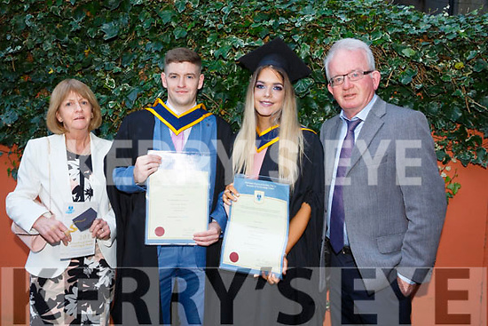 Bernie O'Callaghan, Health and Leisure Graduates Paul O'Callaghan, Shauna Keane,and Ivor O'Callaghanat the IT Tralee graduation ceremony at the Brandon hotel, Tralee on Thursday