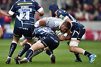 Taulupe Faletau of Bath Rugby takes on the Sale Sharks defence. Aviva Premiership match, between Sale Sharks and Bath Rugby on May 6, 2017 at the AJ Bell Stadium in Manchester, England. Photo by: Patrick Khachfe / Onside Images