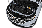 Car stock 2019 Chevrolet Equinox Premier 5 Door SUV engine high angle detail view