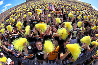 University of Iowa fans cheer for the Hawkeyes moments before kickoff against their in-state rivals, the Iowa State Cyclones, at Kinnick Stadium Saturday, September 11, 2010 in Iowa City, Iowa.