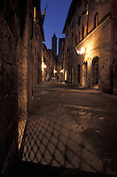 Evening street scene in San Gimignano Italy