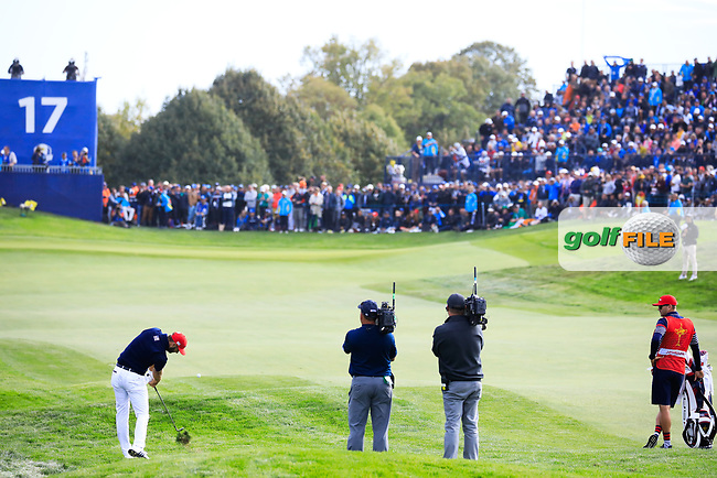 Dustin Johnson (Team USA) during the sunday singles at the Ryder Cup, Le Golf National, Paris, France. 30/09/2018.<br /> Picture Phil Inglis / Golffile.ie<br /> <br /> All photo usage must carry mandatory copyright credit (© Golffile | Phil Inglis)
