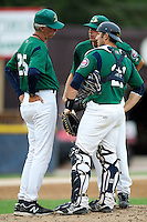 Beloit Snappers pitching coach Gary Lucas #25 talks with catcher Matthew Koch #21 and pitcher Steven Gruver during a game against the Clinton LumberKings at Pohlman Field on June 29, 2012 in Beloit, Wisconsin.  Clinton defeated Beloit 6-3.  (Mike Janes/Four Seam Images)