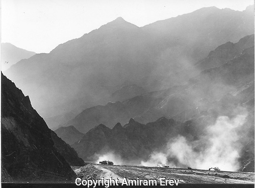 Sinai mountains and Israeli road building,1971.