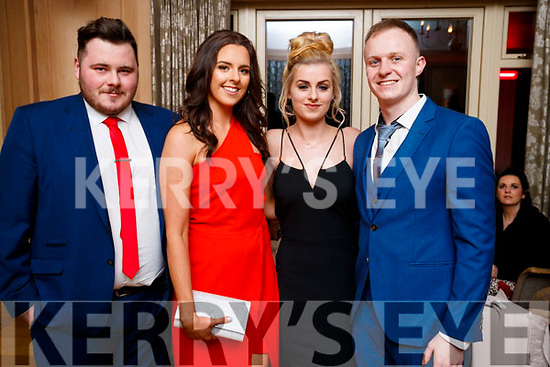 Brian Daly (Tonevane), Niamh Finn (Mitchelstown), Mairead O'Connell (Ballymac) Stuart Nolan (The Kerries, Tralee), pictured at the Lee Strand Social, at Ballygarry House Hotel & Spa, Tralee, on Saturday night last.