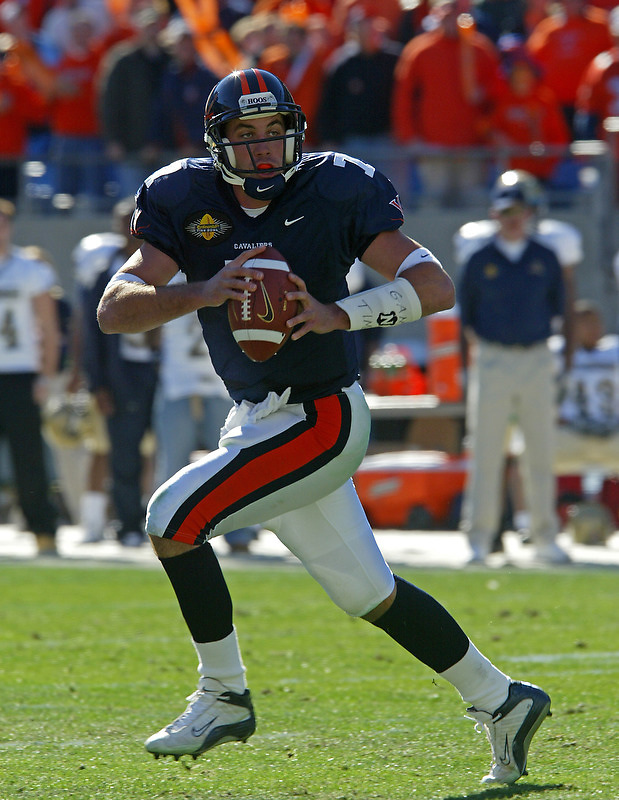 UVa football quarterback Matt Schuab for the Virginia Cavaliers playing in Scott Stadium at the University of Virginia in Charlottesville, VA. Photo/Andrew Shurtleff.