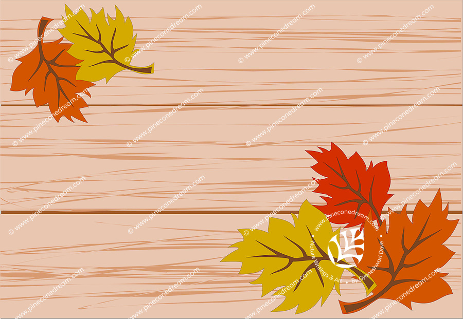 Vector illustration of vibrant colorful autumn leaves lying on wooden bench.<br />