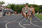 28 MAY 2016:  Jake Campbell of St. Olaf celebrates as he wins the men's 1,500 meter race gets off to a fast start during the Division III Men's and Women's Outdoor Track & Field Championship is held at Walston Hoover Stadium on the Wartburg College campus in Waverly, IA. Campbell won the race with a time of 3:49.27. Conrad Schmidt/NCAA Photos