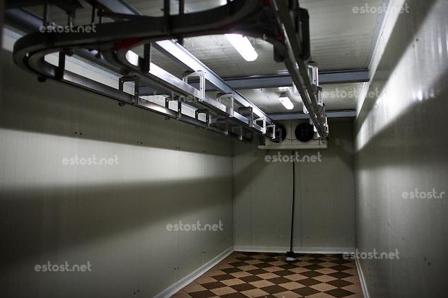 RUMAENIEN, 02.2013, Oltenita. Kuehlkammer in einem Schlachthof fuer Pferde. | Refrigeration chamber for horse meat in a slaughterhouse. © Bogdan Croitoru/EST&OST