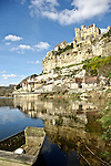 Overlooking the Dordogne River near Sarlat France is the Cha?teau de Beynac