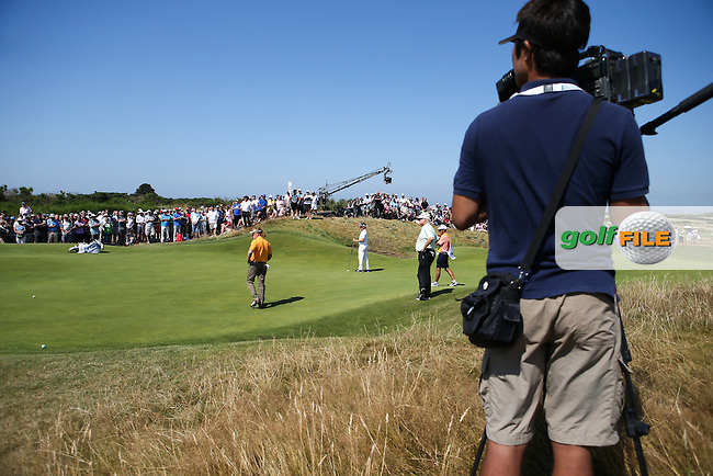 View through the 8th green during Round Two of the 2014 Senior Open Championship presented by Rolex from Royal Porthcawl Golf Club, Porthcawl, Wales. Picture:  David Lloyd / www.golffile.ie