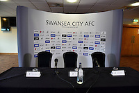 Pictured: The empty top table Thursday 21 July 2016<br /> Re: The press conference to announce the new US owners of Swansea City FC, which was due to take place at the Liberty Stadium, has been cancelled.