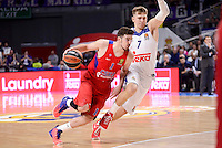 Real Madrid's Luka Doncic and CSKA Moscow Nando de Colo during Turkish Airlines Euroleague match between Real Madrid and CSKA Moscow at Wizink Center in Madrid, Spain. January 06, 2017. (ALTERPHOTOS/BorjaB.Hojas)