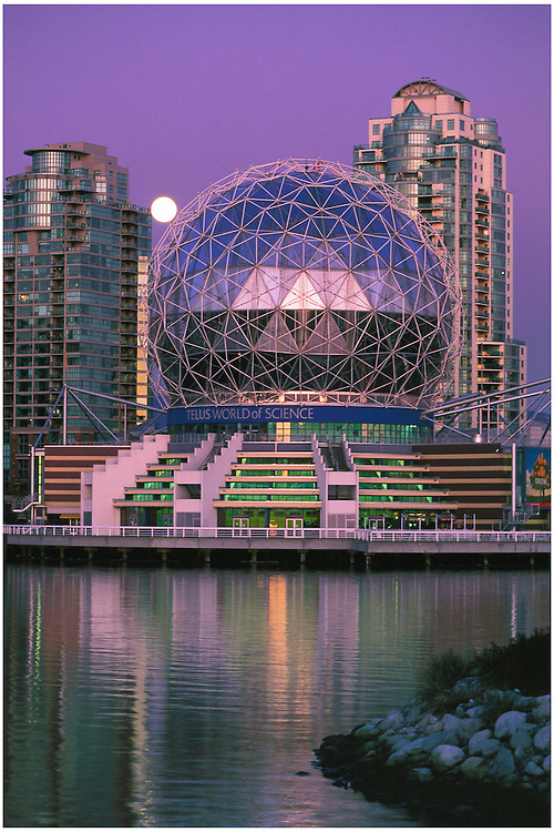 Science World and full moon at twilight, False Creek, Vancouver, BC.