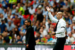Reading manager Jaap Stam gestures ahead of Huddersfield Town manager David Wagner during the SkyBet Championship Play Off Final match at the Wembley Stadium, England. Picture date: May 29th, 2017.Picture credit should read: Matt McNulty/Sportimage