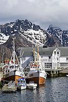 Fishing boats in harbor at village of Henningsvaer, Lofoten islands, Norway