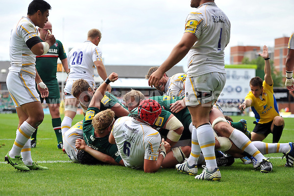A try is awarded to Jordan Crane, after the Leicester Tigers pack drove over the Worcester Warriors line. Aviva Premiership match, between Leicester Tigers and Worcester Warriors on September 8, 2013 at Welford Road in Leicester, England. Photo by: Patrick Khachfe / JMP