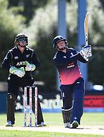 Jonny Bairstow hits a 6.<br /> New Zealand Black Caps v England, ODI series, University Oval in Dunedin, New Zealand. Wednesday 7 March 2018. &copy; Copyright Photo: Andrew Cornaga / www.Photosport.nz