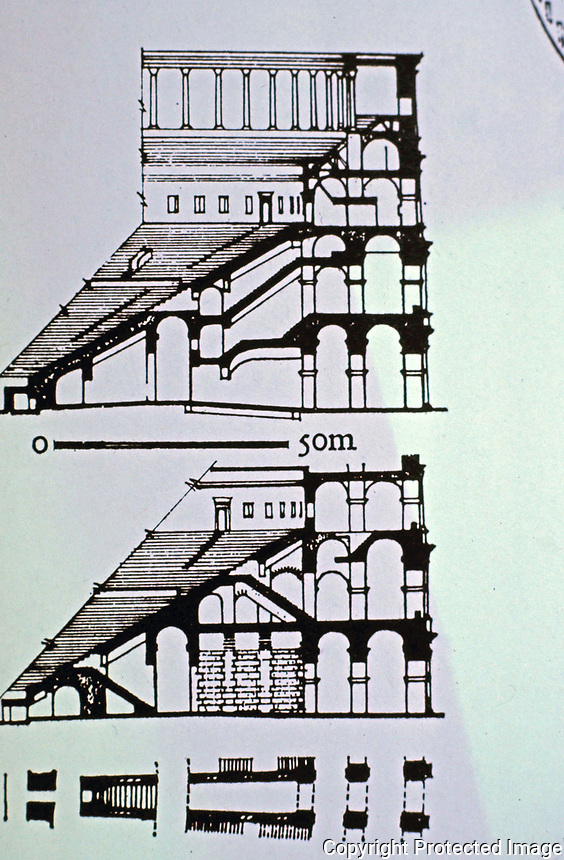 Section and Elevation of the Colosseum, Rome, Italy 80 AD