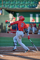 Kevin Maitan (9) of the Orem Owlz bats against the Ogden Raptors at Lindquist Field on June 26, 2018 in Ogden, Utah. The Raptors defeated the Owlz 6-5. (Stephen Smith/Four Seam Images)