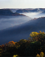 Morning mist at sunrise, from Auxier Ridge, Red River Gorge Geological Area, Daniel Boone National Forest, Kentucky