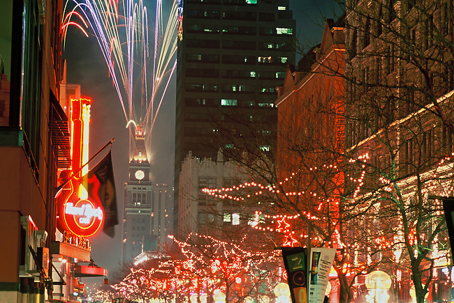 Fireworks fill the sky during Denver's New Year's Eve celebration on 16th Street Mall, downtown Denver, Colorado.