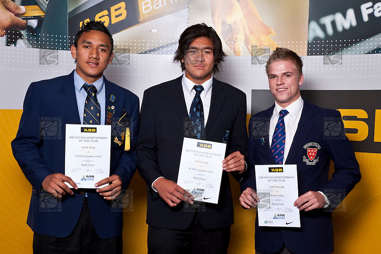 Rugby Union finalists Otenili Moala, Steven Luatua & Gareth Anscombe. ASB College Sport Auckland Secondary School Young Sports Person of the Year Awards held at Eden Park on Thursday 12th of September 2009.