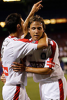 Chicago Fire's Ante Razov celebrates scoring his team's only goal with Justin Mapp. The Chicago Fire played the NY/NJ MetroStars to a one all tie at Giant's Stadium, East Rutherford, NJ, on May 15, 2004.