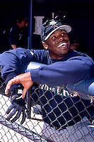 Ken Griffey,jr. of the Seattle Mariners during a spring training game at Peoria Sports Complex in Peoria, Arizona during the 1997 season.(Larry Goren/Four Seam Images)