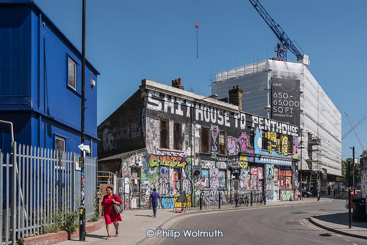 Shithouse to Penthouse, graffiti on a disused pub,  Hackney Wick, London.