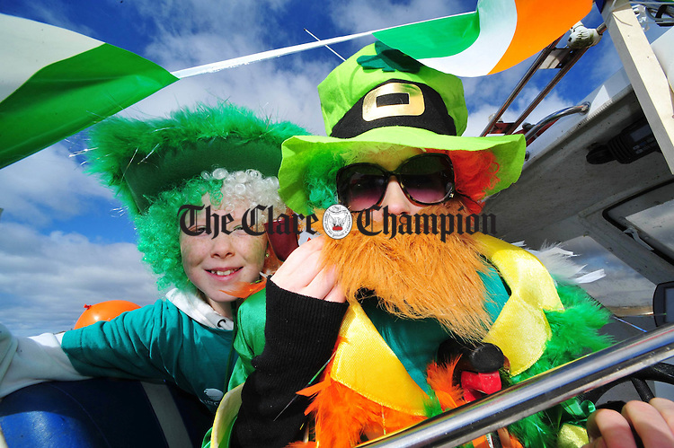 Isabel Walsh and Deirdre Linnane taking part in the St Patrick's Day parade in Fanore. Photograph by Declan Monaghan