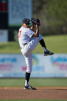 Kannapolis Intimidators starting pitcher Bernardo Flores (17) in action against the Lakewood BlueClaws at Kannapolis Intimidators Stadium on April 9, 2017 in Kannapolis, North Carolina.  The BlueClaws defeated the Intimidators 7-1.  (Brian Westerholt/Four Seam Images)