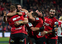 Crusaders celebrates following the final whistle in the 2018 Super Rugby final between the Crusaders and Lions at AMI Stadium in Christchurch, New Zealand on Sunday, 29 July 2018. Photo: Joe Johnson / lintottphoto.co.nz
