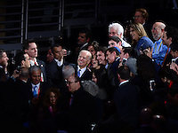 Washington, DC - March 20, 2016: U.S. Vice President Joe Biden takes a selfie with a group after speaking to attendees of the AIPAC Policy Conference at the Verizon Center in the District of Columbia, March 20, 2016. AIPAC is engaged in promoting and protecting the U.S.-Israel relationship to enhance security for both countries. (Photo by Don Baxter/Media Images International)