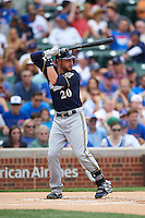 Milwaukee Brewers catcher Jonathan Lucroy (20) at bat during a game against the Chicago Cubs on August 13, 2015 at Wrigley Field in Chicago, Illinois.  Chicago defeated Milwaukee 9-2.  (Mike Janes/Four Seam Images)
