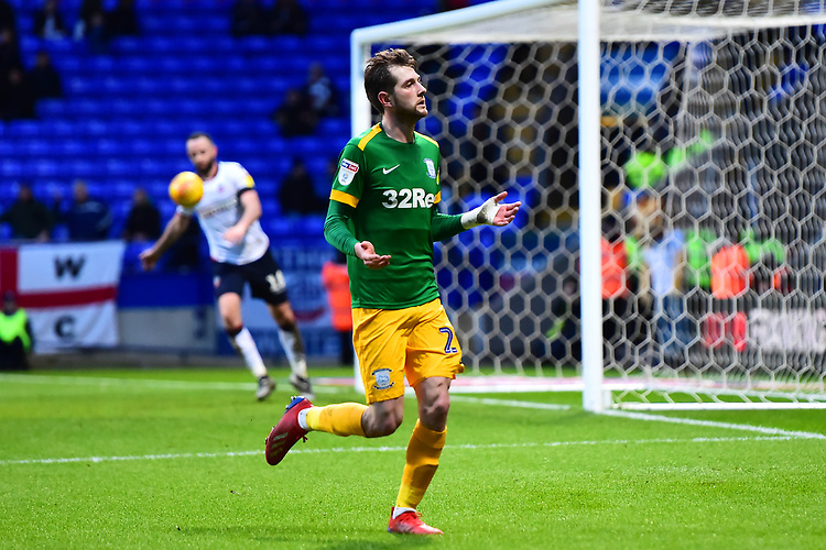 Preston North End's Tom Barkhuizen celebrates scoring his side's second goal <br /> <br /> Photographer Richard Martin-Roberts/CameraSport<br /> <br /> The EFL Sky Bet Championship - Bolton Wanderers v Preston North End - Saturday 9th February 2019 - University of Bolton Stadium - Bolton<br /> <br /> World Copyright &copy; 2019 CameraSport. All rights reserved. 43 Linden Ave. Countesthorpe. Leicester. England. LE8 5PG - Tel: +44 (0) 116 277 4147 - admin@camerasport.com - www.camerasport.com