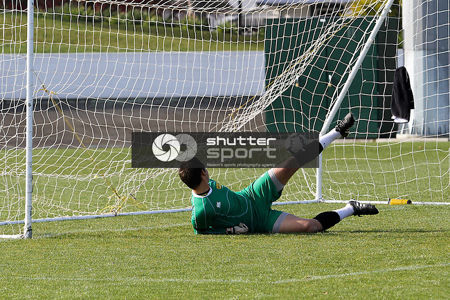Coey Turipa goes the wrong way to Sean Parkes' penalty to hand FC Nelson an unlikely 1-0 lead. Chatham Cup  Football: FC Nelson v AMI Nelson Suburbs, 4 June 2012, Trafalgar Park, Nelson, New Zealand<br /> Photo: Marc Palmano/shuttersport.co.nz