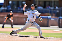 Charleston RiverDogs starting pitcher Luis Cedeno (5) delivers a pitch during a game against the Asheville Tourists at McCormick Field on July 10, 2016 in Asheville, North Carolina. The Tourists defeated the RiverDogs 4-2. (Tony Farlow/Four Seam Images)