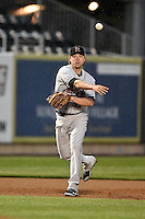 New Britain Rock Cats third baseman Brandon Waring (17) throws to first during a game against the Harrisburg Senators on April 28, 2014 at Metro Bank Park in Harrisburg, Pennsylvania.  Harrisburg defeated New Britain 9-0.  (Mike Janes/Four Seam Images)